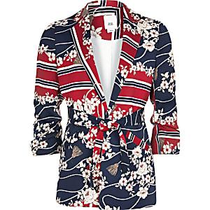 Girls red mixed print belted blazer