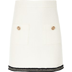 Girls cream boucle skirt