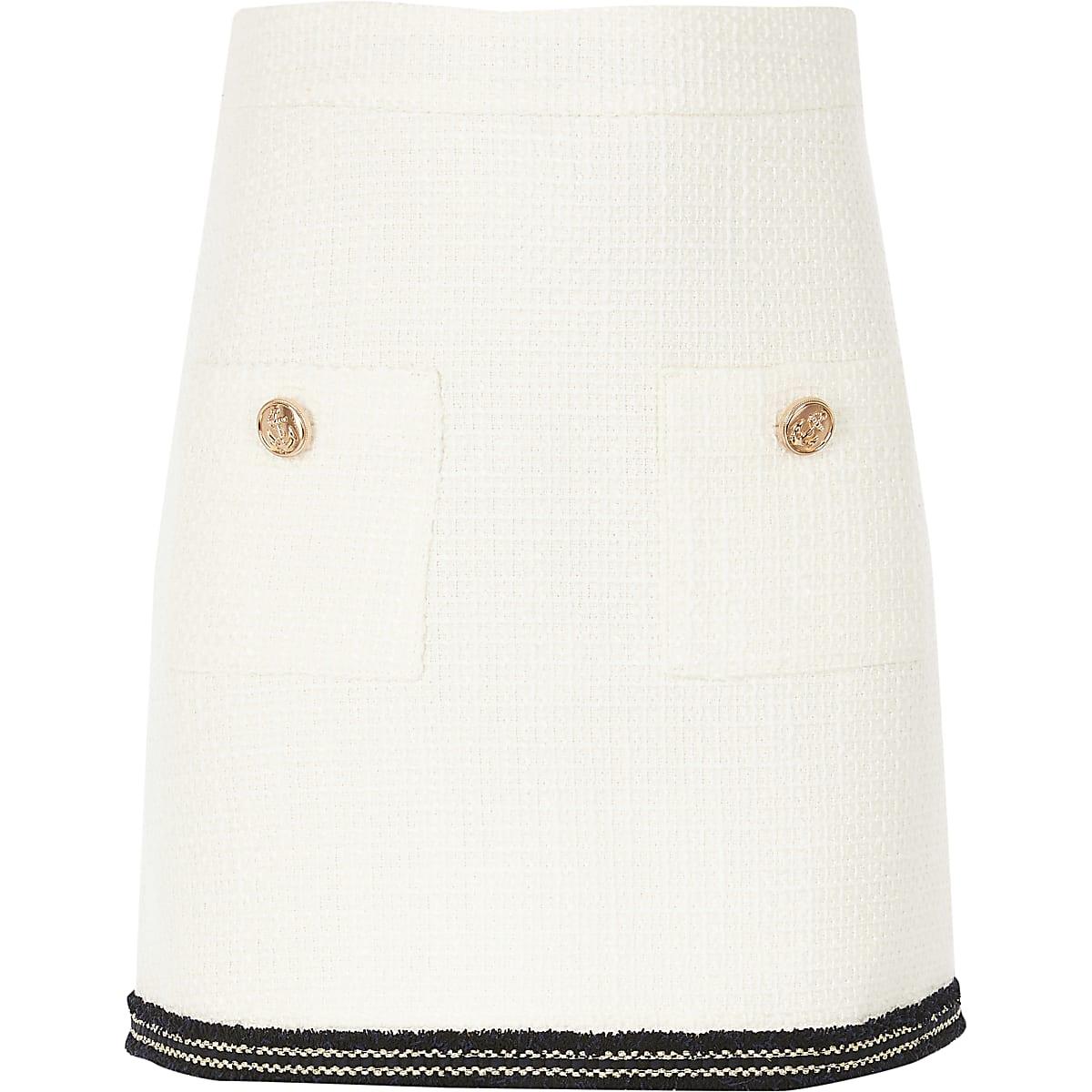 Girls cream boucle skirt
