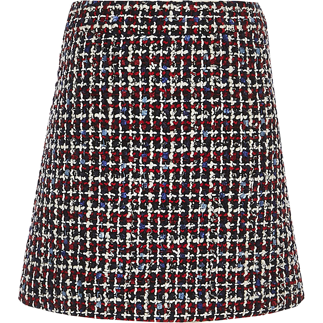 Girls red boucle A line skirt