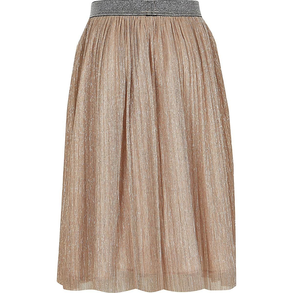 f463fa4266c315 Girls pink metallic midi skirt
