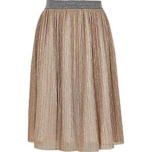 Jupe mi-longue rose métallisée pour fille