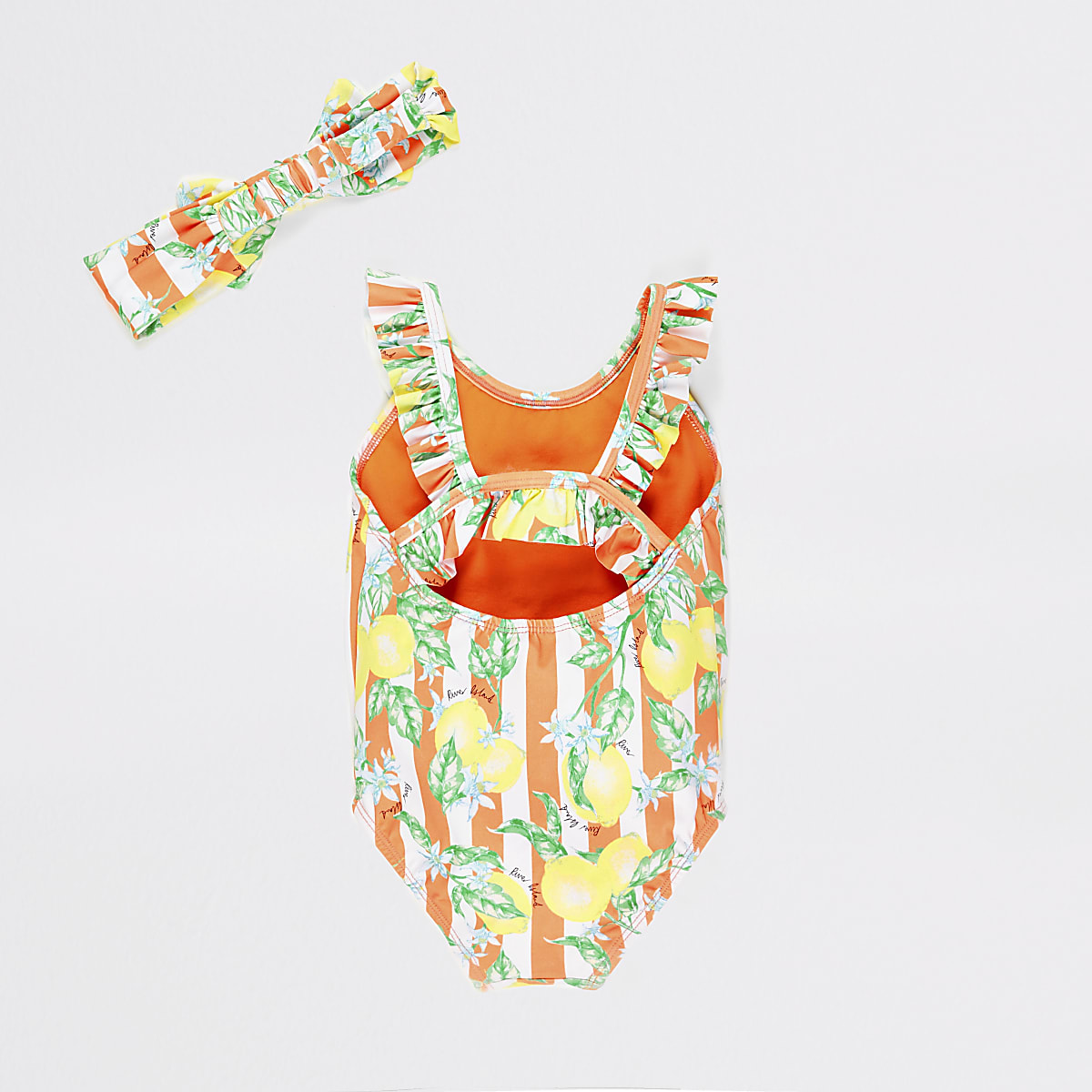 bf4551cd3e772 Mini girls orange lemon print swimsuit set - Baby Girls Swimwear ...