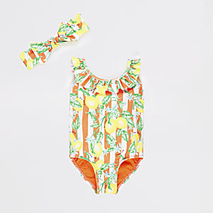 Mini girls orange lemon print swimsuit set
