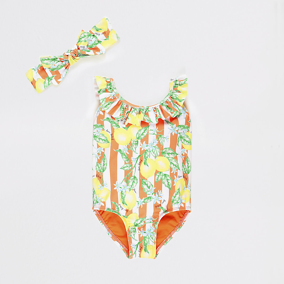d13765e4f5610 Mini girls orange lemon print swimsuit set - Baby Girls Swimwear - Mini  Girls - girls