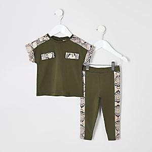Mini - Outfit met kaki T-shirt met slangenprint voor meisjes