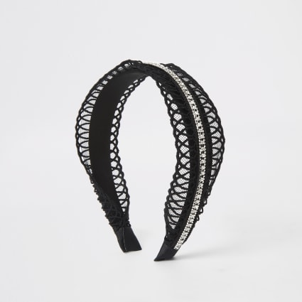 Girls black crochet headband