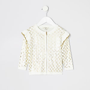 Mini girls cream RI monogram cardigan