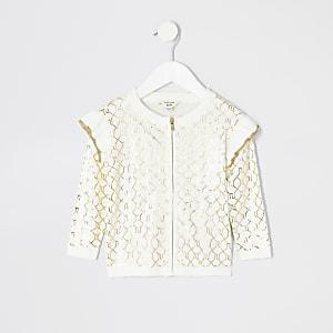 Mini - Crème vest met RI-monogram voor meisjes