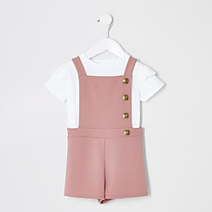 Mini girls pink pinafore playsuit outfit