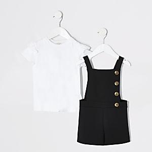 Ensemble avec combi-short chasuble noir pour mini fille