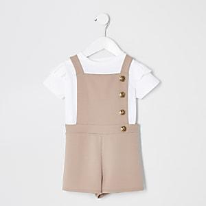 Ensemble combi-short chasuble beige mini fille