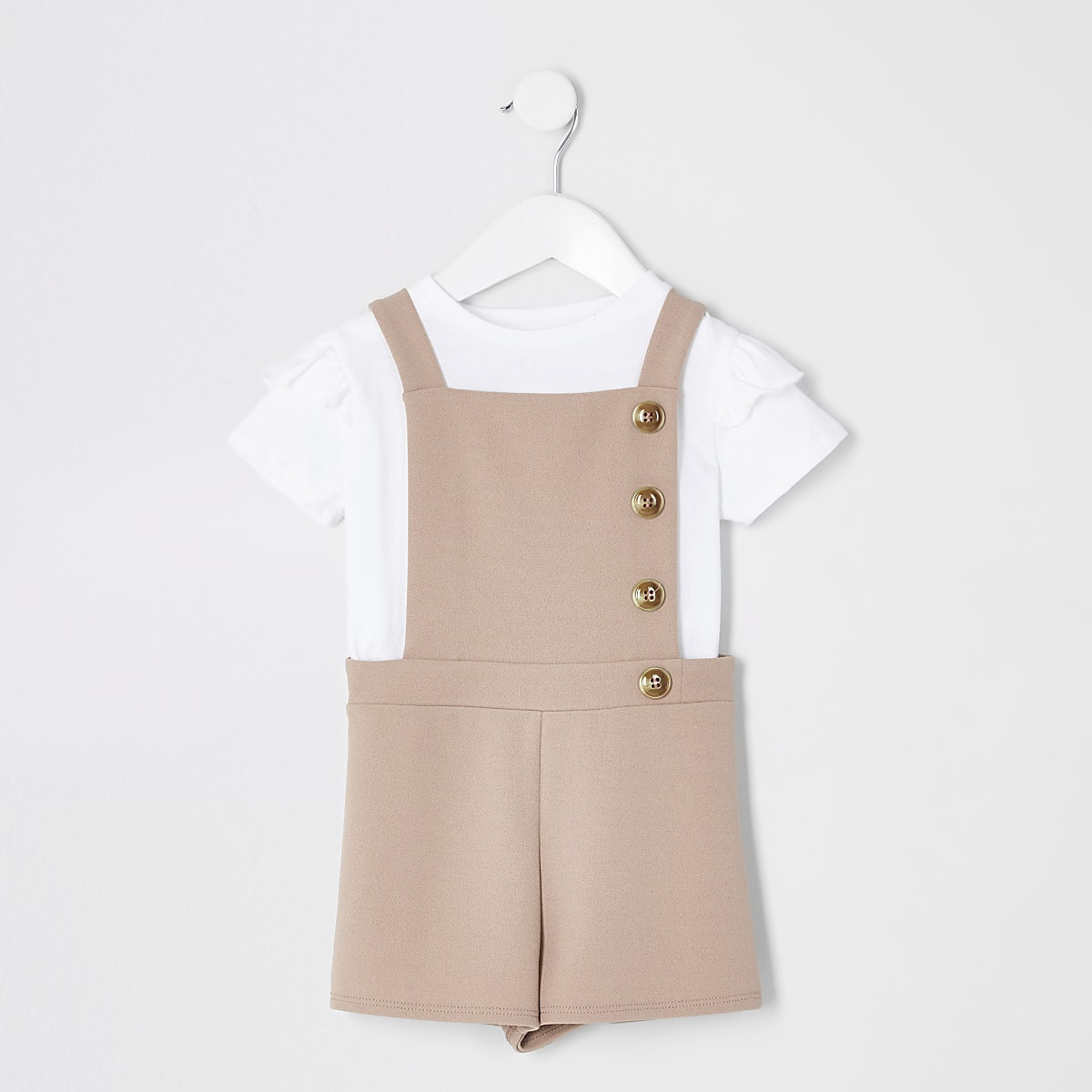 Mini girls beige pinafore playsuit outfit