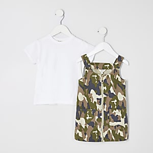 Ensemble avec robe chasuble camouflage kaki mini fille