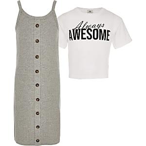 Grijze 2-in-1 T-shirtjurk voor meisjes