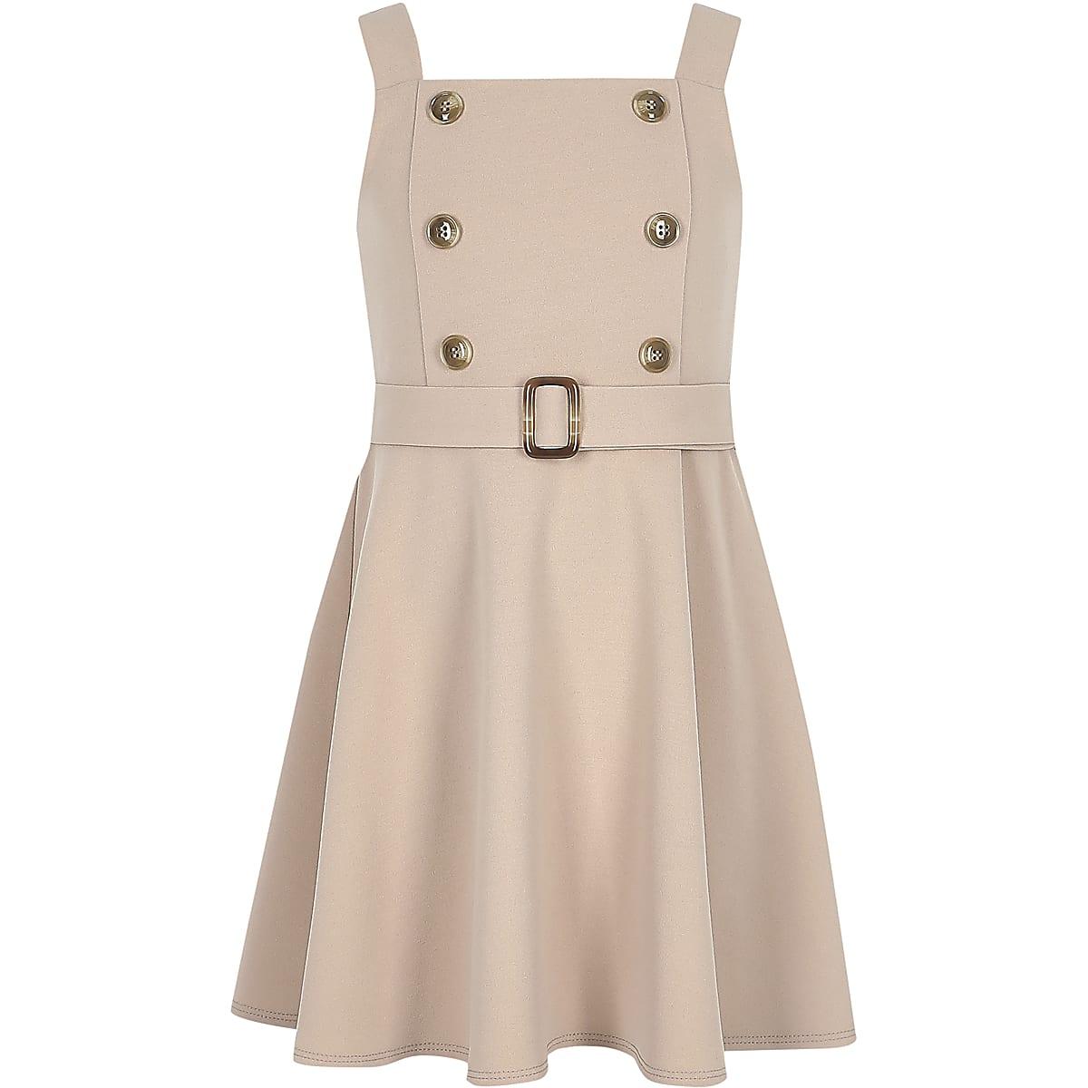 Girls beige double button skater dress