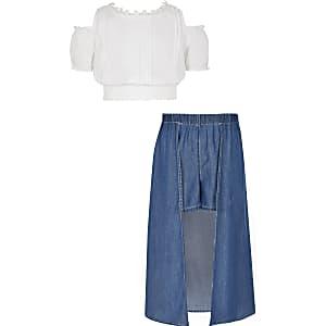 Ensemble avec jupe-short en denim bleu pour fille
