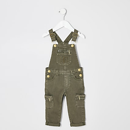 Mini girls khaki utility denim dungarees