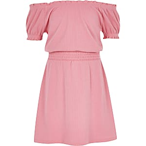 Girls pink shirred bardot dress