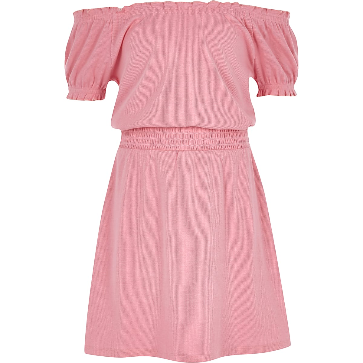 Robe Bardot rose à fronces pour fille
