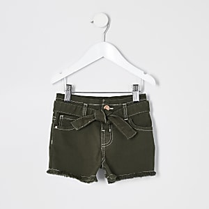 Khaki Mom-Jeansshorts mit Paperbag-Taille