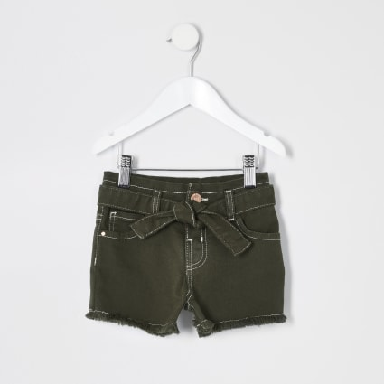 Mini girls khaki Mom paperbag denim shorts