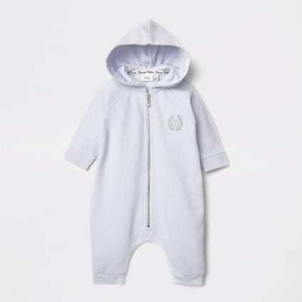 Baby blue angel wings hooded baby grow