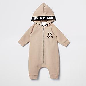 Beige onesie met capuchon voor baby's