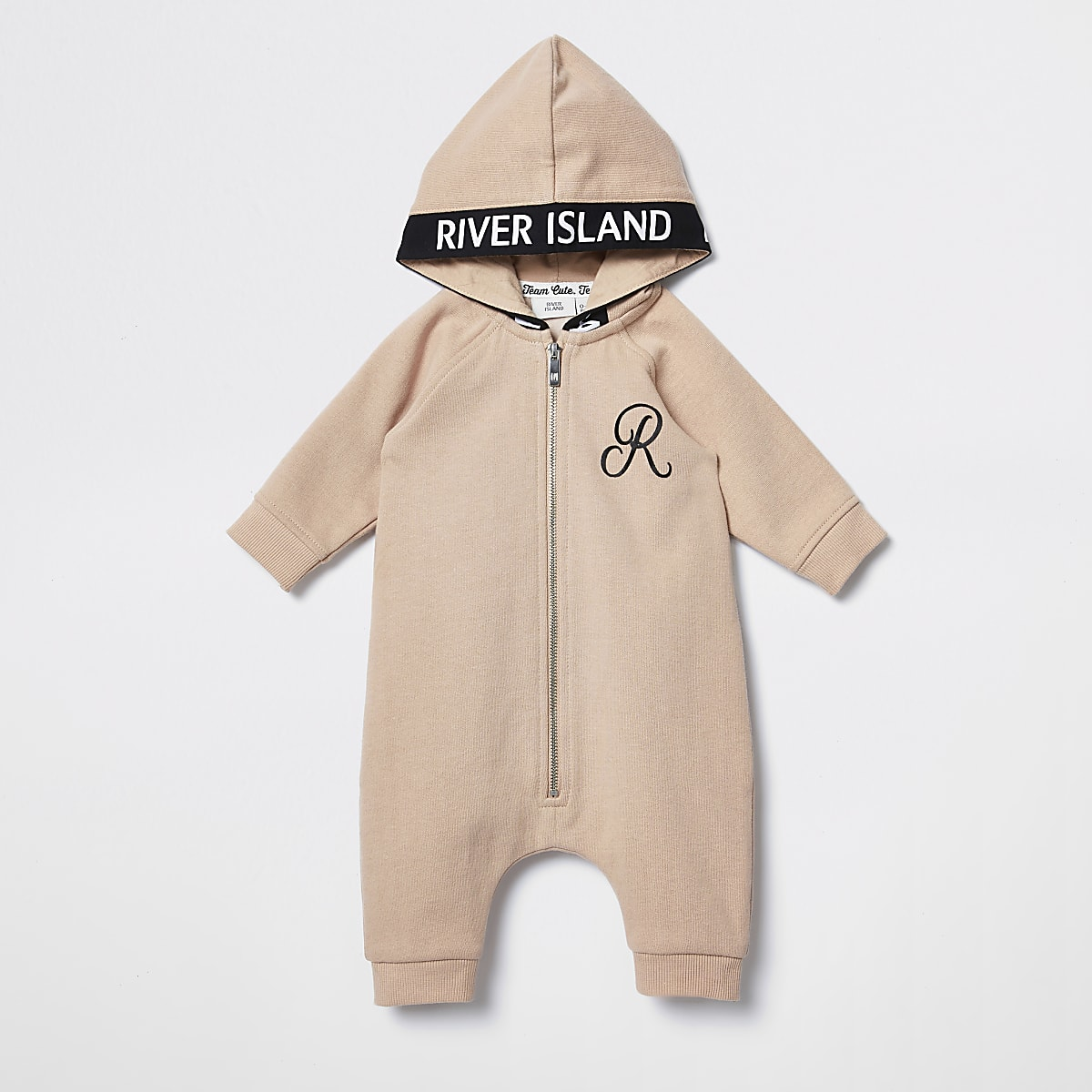 Baby beige hooded baby grow