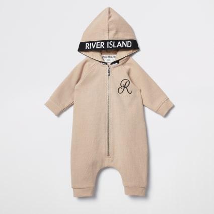Baby beige hooded baby grow