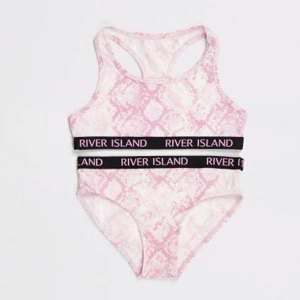 Girls pink snake racer crop top set