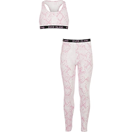 Girls pink snake print racer crop top outfit