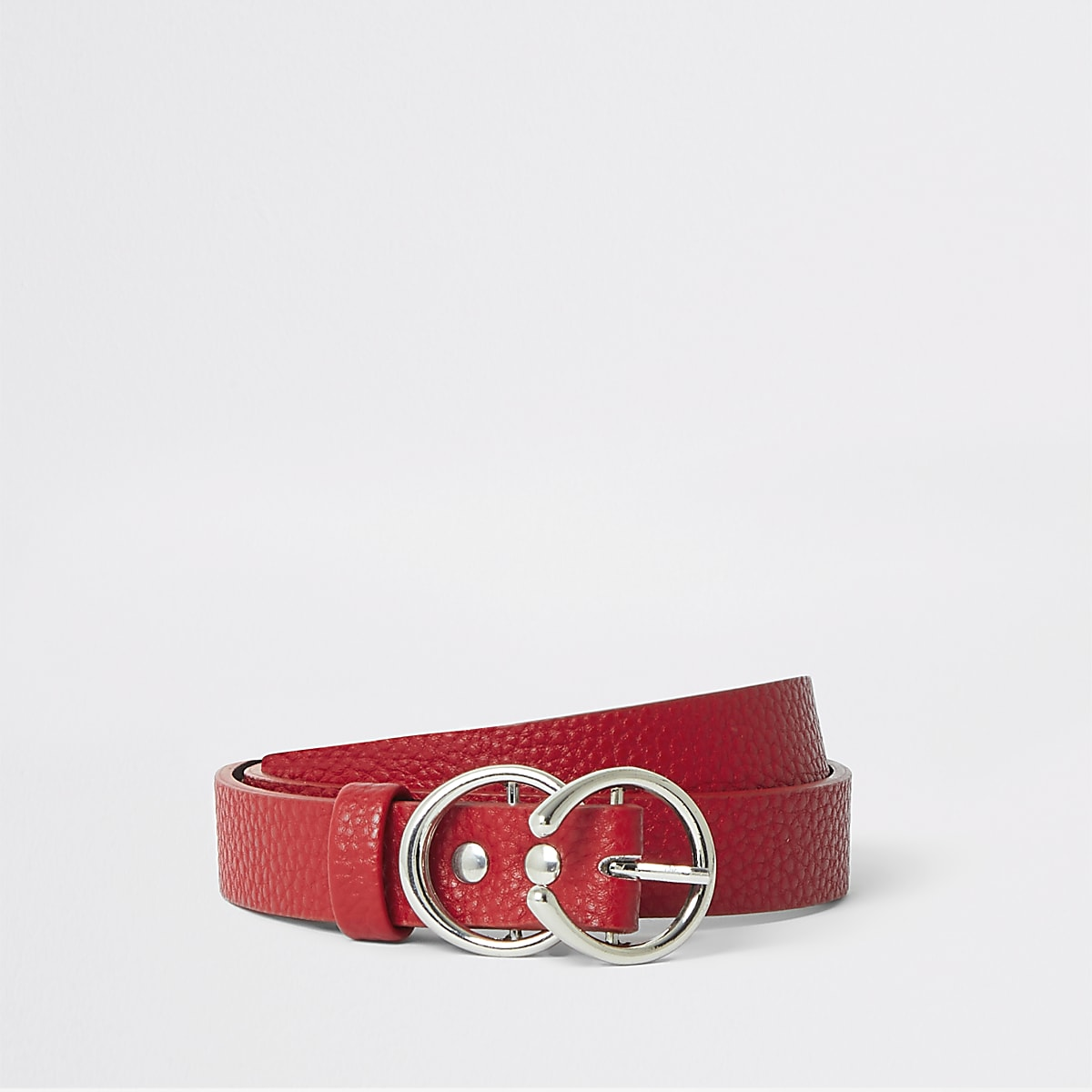Girls red double circle buckle belt
