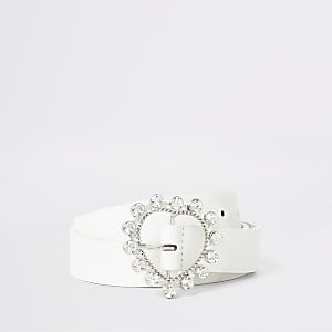 Girls white rhinestone heart buckle belt