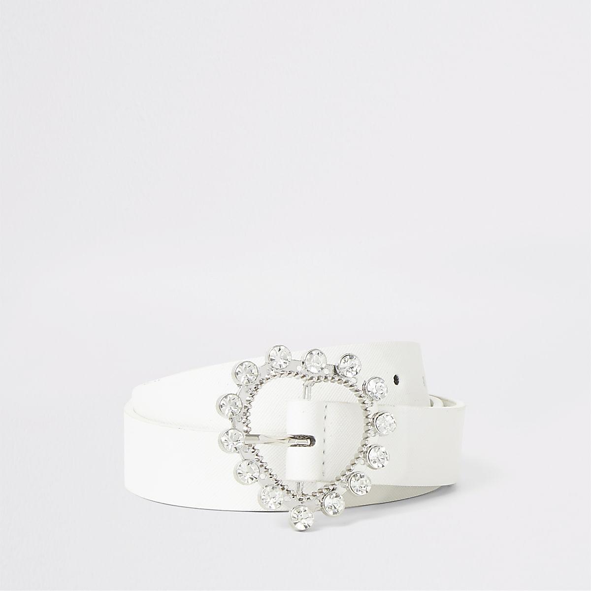 Girls white diamante heart buckle belt