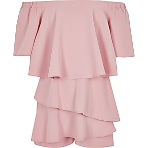 Girls pink bardot playsuit