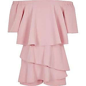 Combi-short Bardot rose pour fille