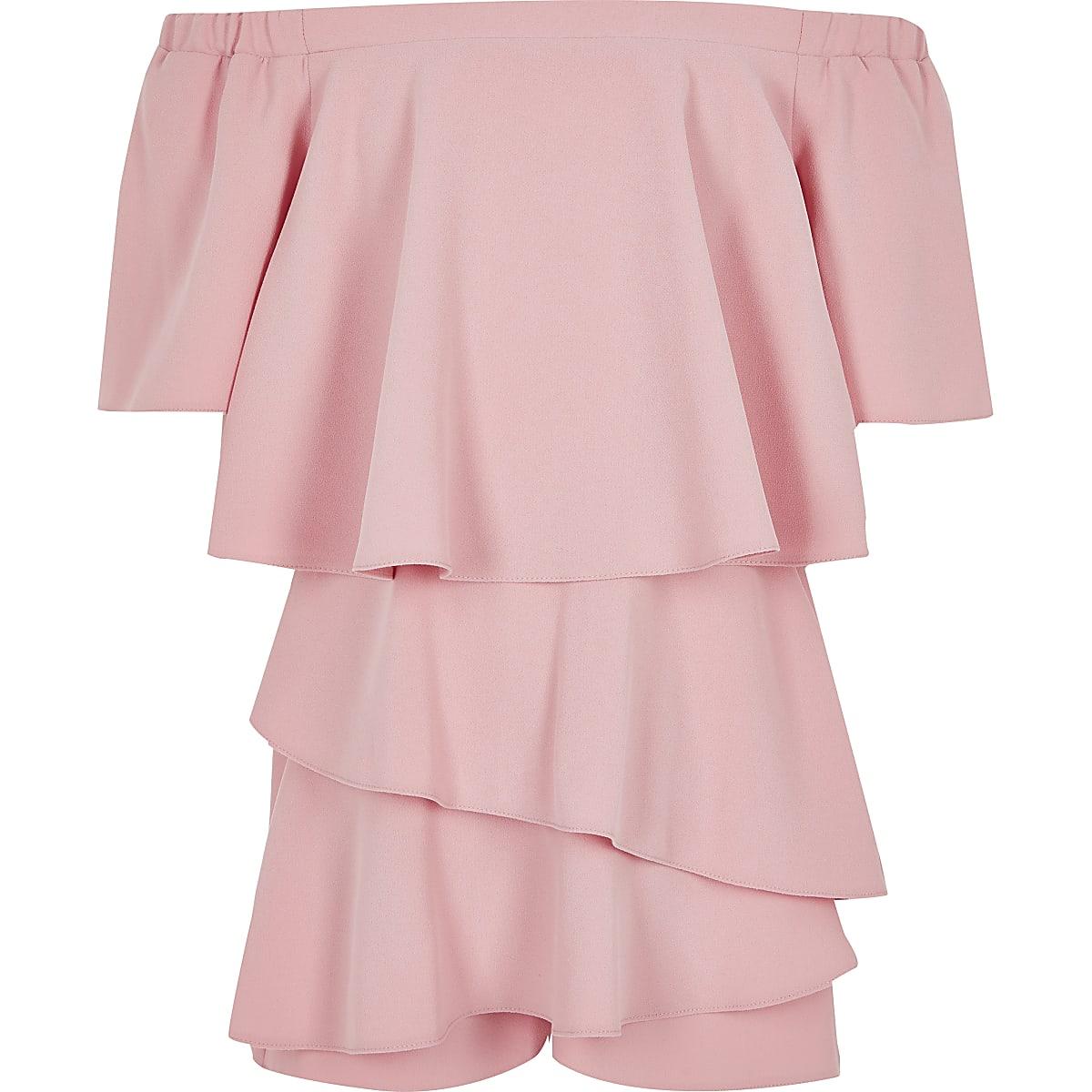 Girls pink bardot playsuit