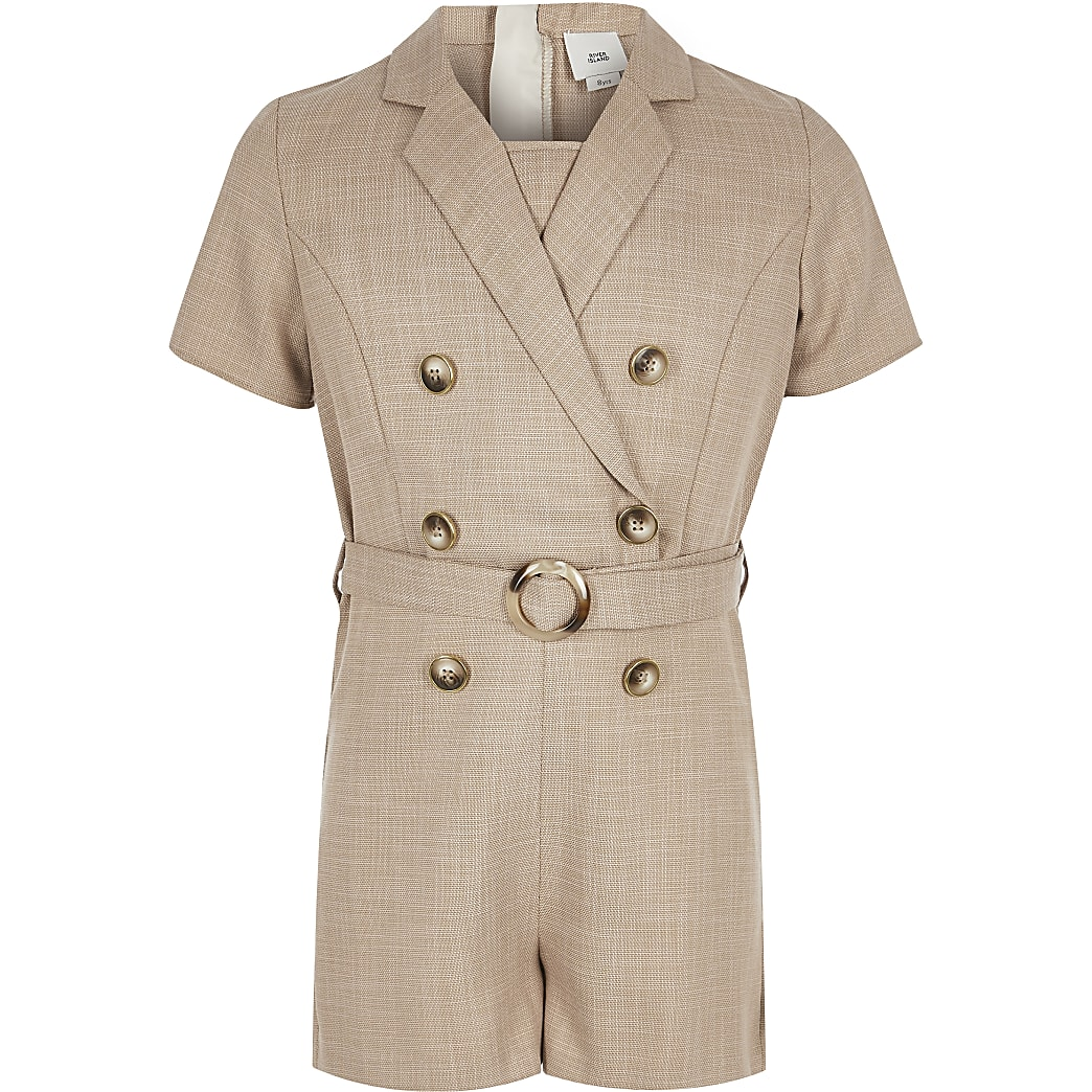 Girls beige utility playsuit