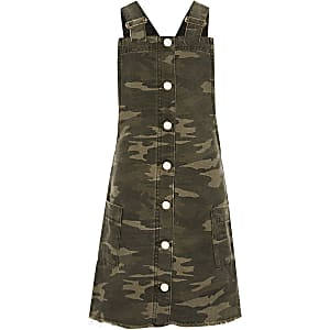 Girls green camo pinafore dress