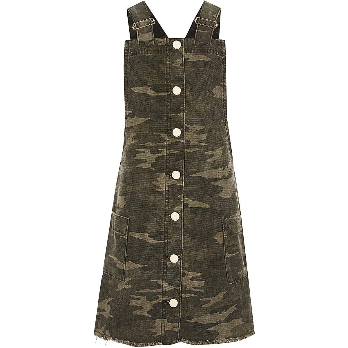 Girls green camo pinafore dress