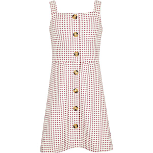 Girls pink check pinafore dress