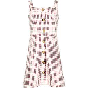 Robe chasuble à carreaux rose pour fille