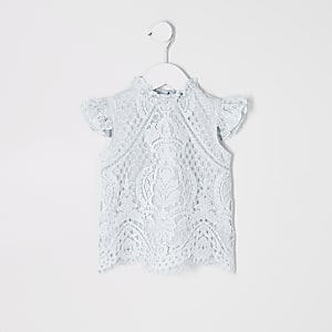 Mini girls blue lace top