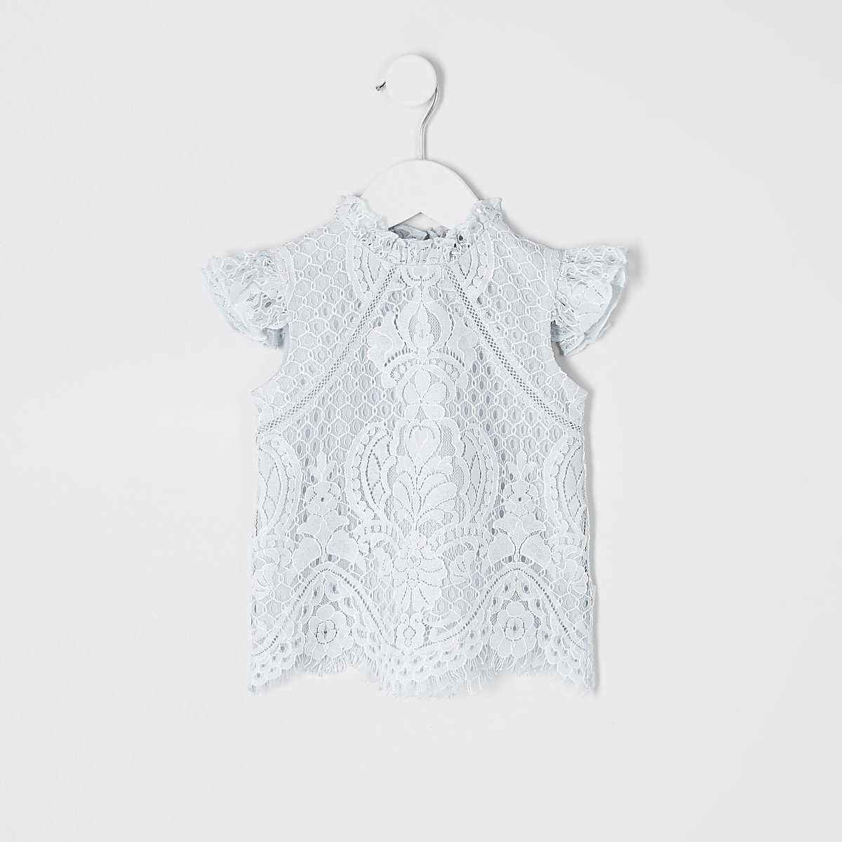 Mini girls blue lace top