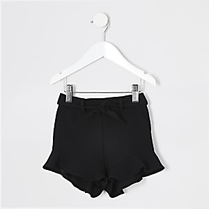 Mini girls black frill shorts