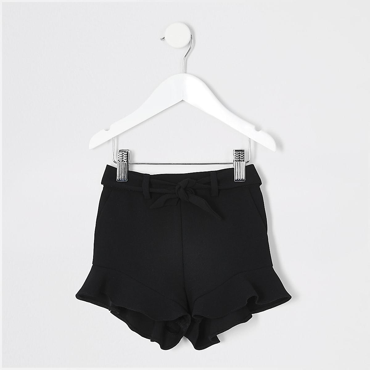 Mini girls black frill shorts