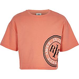 Koraalrood cropped T-shirt met RI-logo voor meisjes