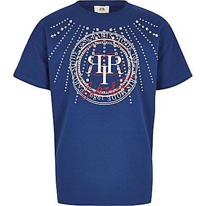 Girls blue RI diamante T-shirt