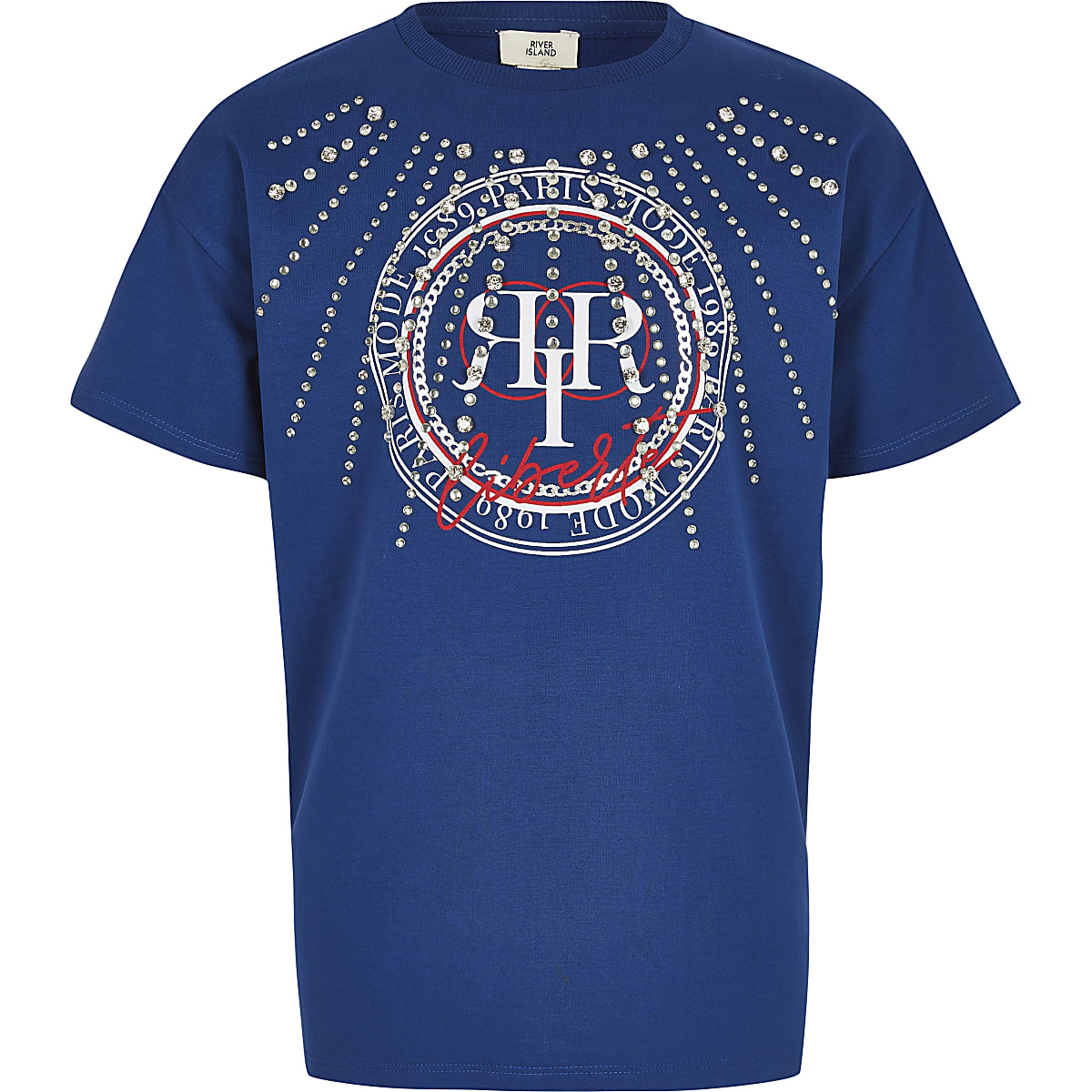 Blauw T-shirt met RI-logo en diamantjes voor meisjes